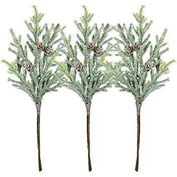 3 Pack Frosted Artificial Cypress Pine Stems Snowy Glittered Pine Spray with Mini Pinecones for Christmas Holiday Greens Seasonal Floral Arrangement Centerpiece Winter Wedding Décor 13.8