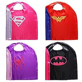 - 51ygybjL8mL - Zaleny Superhero Dress up Costumes – 4 Satin Capes and 4 Felt Masks