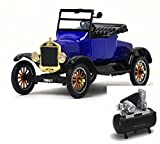 Motor Max Diecast Car & Air Compressor Package - 1925 Ford Model T Runabout Convertible, Blue 79327PTM - 1/24 Scale Diecast Model Toy Car w/Air Compressor