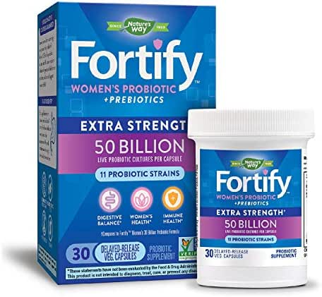 Nature's Way Women's Probiotic, 50 Billion Live Cultures, 11 Strains, Prebiotics, 30 Capsules