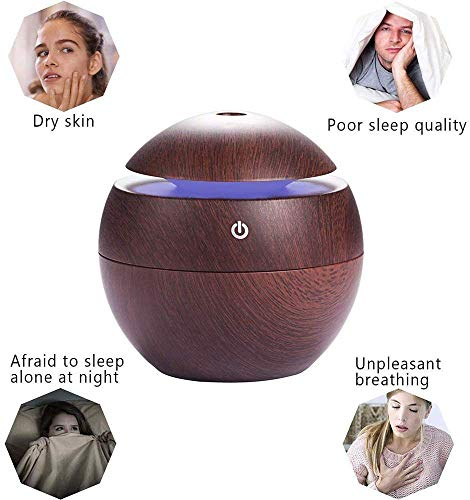 Portable Mini Wooden Air Humidifiers Aromatherapy Ultrasonic Humidifier Oil Aroma Diffuser Usb Purifier Color Changing Led Touch Switch Atomization Humidifier For Home Office and Car Perfumes