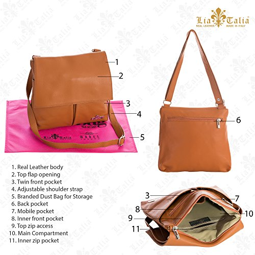Shoulder Hazel Black Leather Messenger Crossbody Real Womens Brown Soft Handbag Italian Trim Liatalia amp; xqz0W4SwU