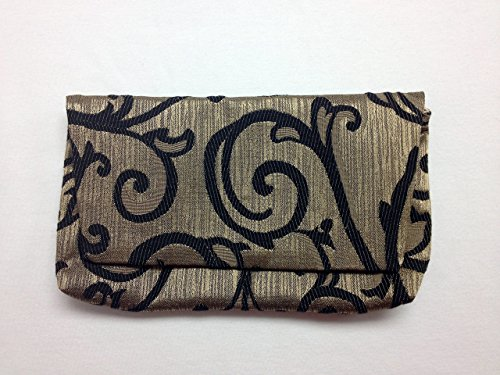The Starry Night: Black and Gold Swirl Brocade Clutch Purse by Buckles and Snaps