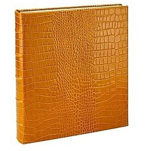 Standard 3-ring Goldenrod Crocodile-pattern Fine Leather album with slip-in pockets by Graphic Image™ - 4x6 by Graphic Image