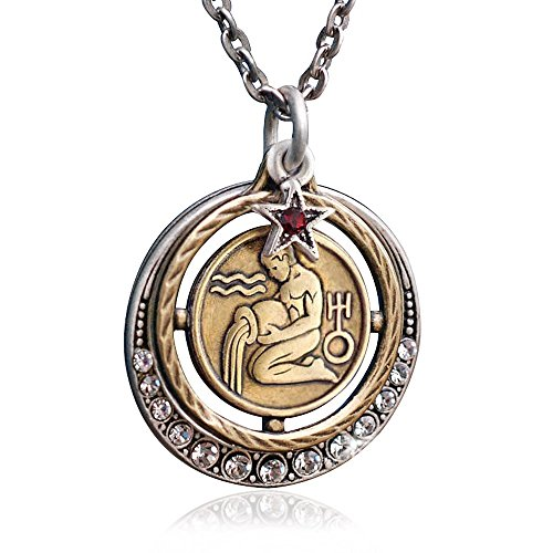 Sweet Romance Aquarius Zodiac Sign Astrology Pendant Necklace - January and February Birthday Gifts