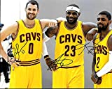 Lebron James , Kyrie Irving & Kevin Love Cleveland Cavaliers Autographed Signed 8 x 10 Photo - COA - NM/MT - MT Condition!