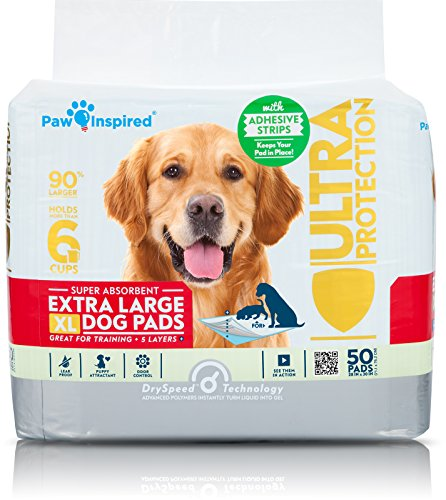 Paw Inspired Extra Large Puppy Pads in bulk | XL Dog Pads | Dog Pee Pads | Puppy Training Pads, Potty Pads (Adhesive Strips, 50 Count)