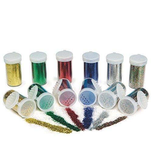 S&S Worldwide Color Splash! Glitter Bulk Pack, Basic Colors (pack of 12) (Basic Glitter)