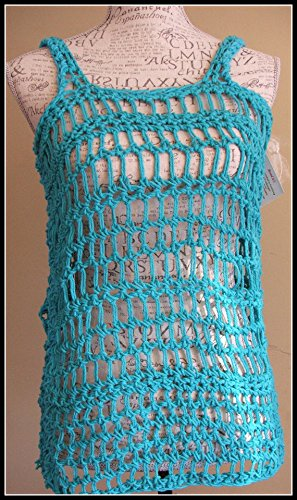 Crochet turquoise Tank Shirt. Made By Bead G's On AMAZON. Size Small/Medium