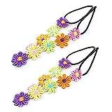 Tfwadmx Women Headband Colorful Hair Band Fashion Flower Head Hoop Children Hair Accessories 2 PCS