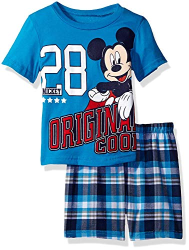 Mickey Mouse Clubhouse Shirt - Disney Toddler Boys' Mickey Mouse Plaid Short Set with T-Shirt, Blue, 2T