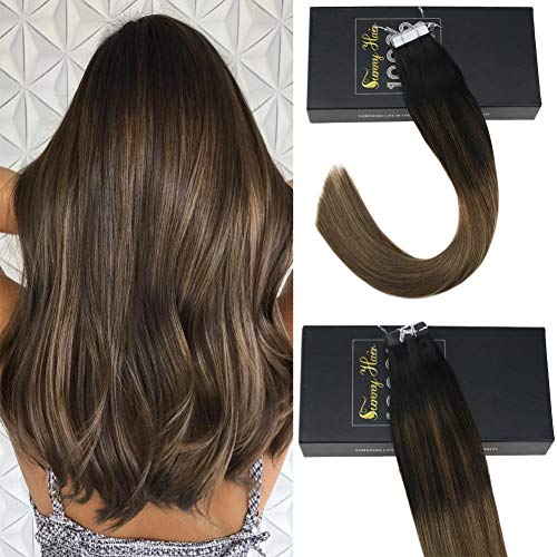 "Sunny 16"" Tape in Extensions Remy Hair Ombre Color Natural Black to Light Ash Brown with Golden Brown Highlights Remy Human Hair Tape in Hair Extensions 20pcs 50g"