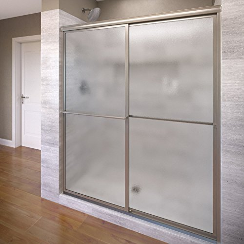Basco Infinity Shower Door Framed Obscure Glass  Sliding Door, Brushed Nickel