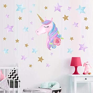 Amazon.com: Pegatina de pared de unicornio de la casa lluvia ...