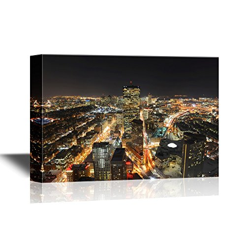 wall26 - USA City Skyline Canvas Wall Art - Boston John Hancock Tower and Back Bay Skyline at Night, Massachusetts - Gallery Wrap Modern Home Decor | Ready to Hang - 24x36 inches]()