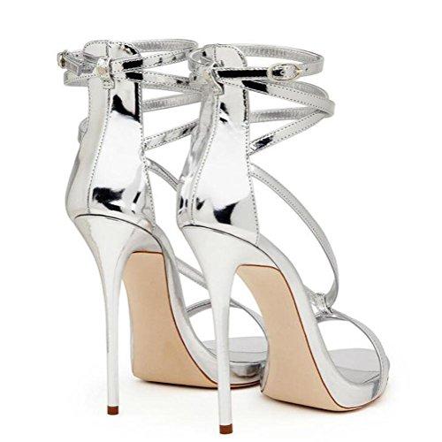 Silberstreifen mit Absatz YC GL Damen Lackleder Gold weiß 43 Schuhe und Zehensandalen hohem tzq6qd