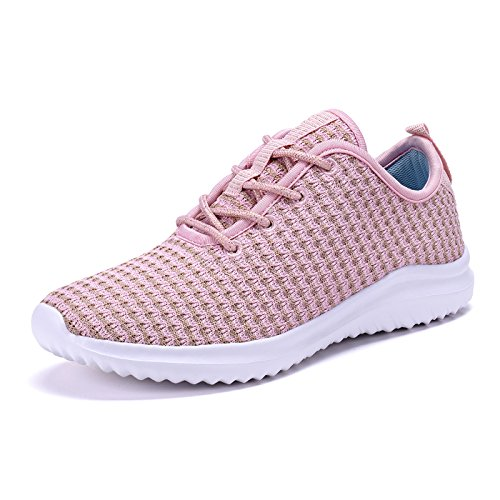 COODO CD8011 Women Lightweight Athletic Shoes Fashion Running Sneakers Pink-8.5