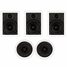 "Theater Solutions TS-65 1000 Watt 5CH 6.5"" In-Wall/Ceiling Home Theater Speaker System"
