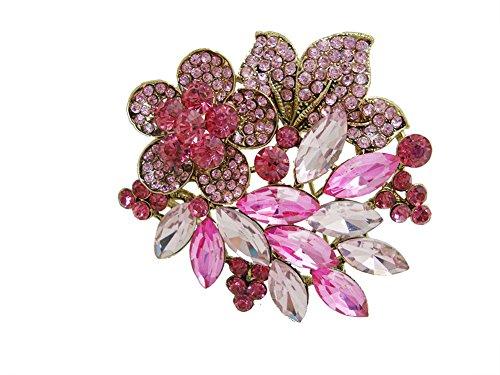 TTjewelry Gold-Tone Pink Rhinestone Crystal Hibiscus Flower Leaf Brooch ()