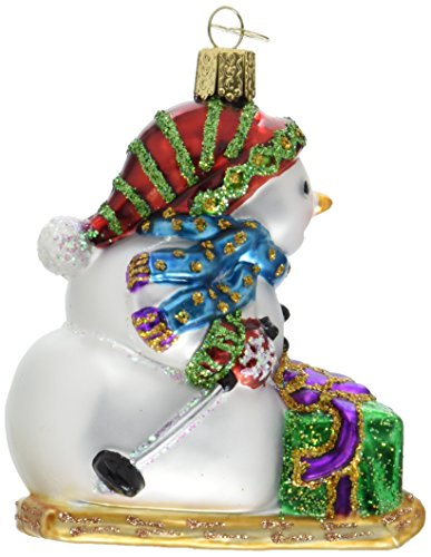 Old World Christmas Snowman on Skis Glass Blown Ornament
