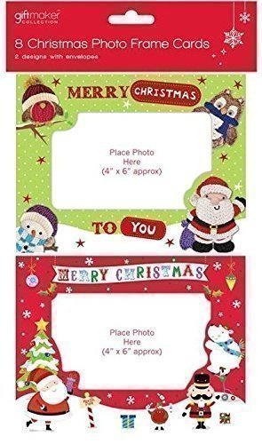 Christmas Card Frame.8 Christmas Photo Frame Cards Envelopes Personalised Greetings