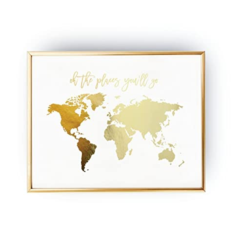 Amazon oh the places youll go world map poster real gold oh the places youll go world map poster real gold foil gumiabroncs Gallery