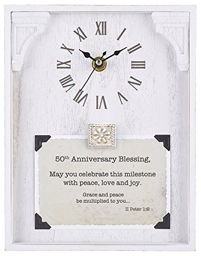 CB Gift Heartfelt Collection Framed Table Clock with Sentiment, 7'' x 9'', White by CB Gift