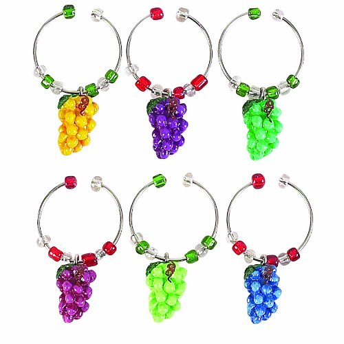 Napa Stemware Wine Glass - Boston Warehouse Napa Grapes Wine Charm Set