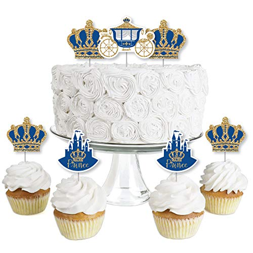 Royal Prince Charming - Dessert Cupcake Toppers - Baby Shower or Birthday Party Clear Treat Picks - Set of 24]()