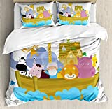 Religious King Size Duvet Cover Set by Ambesonne, Religious Story the Ark with Set of Animals in the Boat Journey Faith Cartoon, Decorative 3 Piece Bedding Set with 2 Pillow Shams, Multicolor