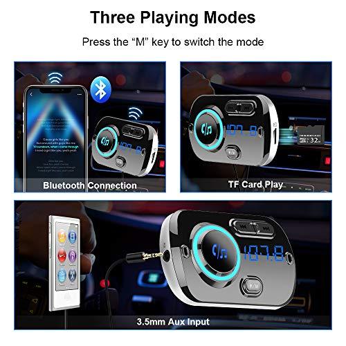 Trasmettitore FM Bluetooth 5.0, Vivavoce Car Kit con QC 3.0 Caricatore per Auto, supporto Uscita TF card AUX, Suono Cristallino, Luce Colore, Cavo 1.1M, 2 Modi di Installazione