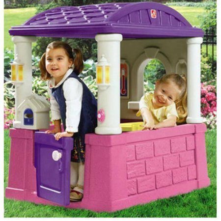 Kids Outdoor Playhouse with 2 Built-In Seats and Tabletop Backyard Playhouses For Girls Children Toddlers Playsets Pink & Purple NEW