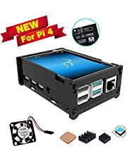 for Raspberry Pi 4 Touch Screen with Acrylic Grey Case, 3.5 inch Touchscreen with Mini Fan, 320x480 Pixel Monitor TFT LCD Game Display [Support Pi 4 & 3 B+ ]