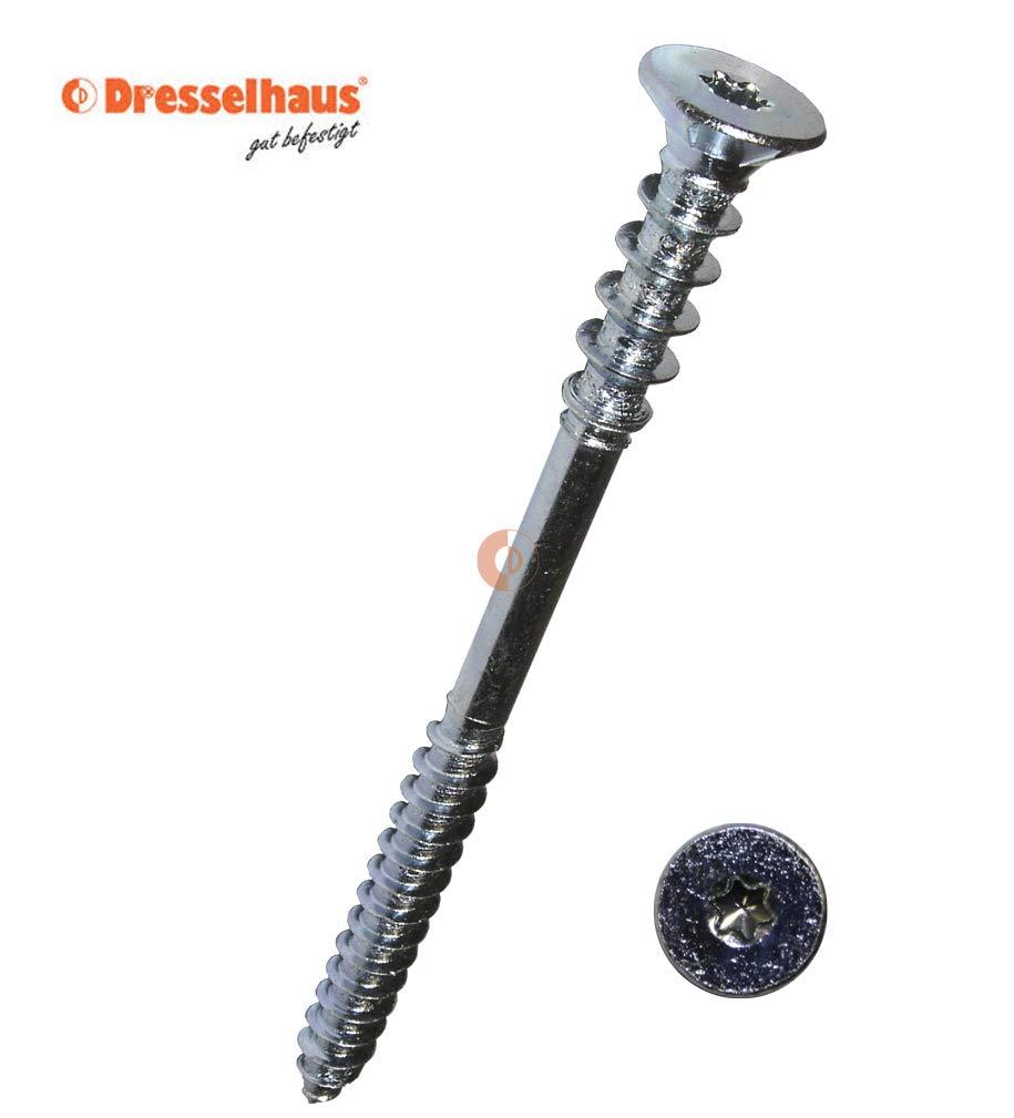 Dresselhaus 6 x 80 mm, 100 unidades, metal galvanizado, Torx T25 Tornillo de ajuste