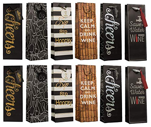 Wine Bottle Gift Bags Set of 12 Includes Bags with Tags & Tissue ()