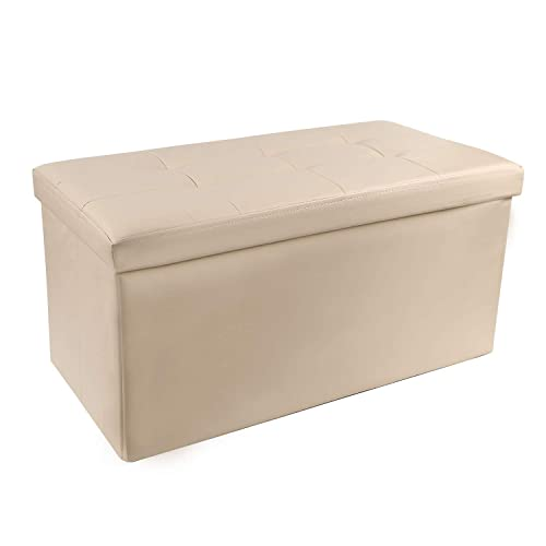 REDCAMP 30 110L Faux Leather Storage Ottoman Bench, Folding Large Ottoman Foot Rest for Bedroom Dorm Sofa, Beige