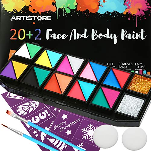 ARTISTORE Face Paint Set, 22 Colors Kit with 20 Colors, 1 Gold Glitter Powder, 1 Silver Glitter Powder, 16 Stencils, 2 Brushes, 2 Sponges, Best Face Painting-Hypoallergenic, Non-Toxic, Easily Remove -