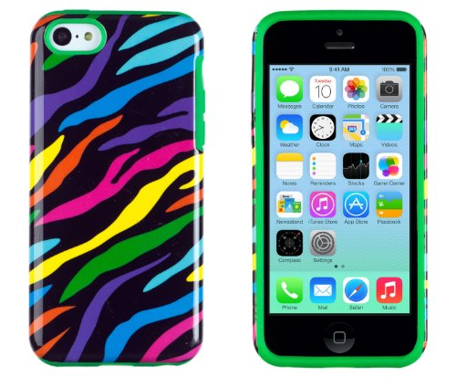DandyCase 2in1 Hybrid High Impact Hard Colorful Rainbow Zebra Striped Pattern + Green Silicone Case Cover For Apple iPhone 5C + DandyCase Screen Cleaner (Cover Case Zebra Silicone)