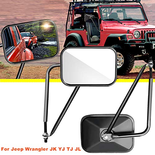 Audew A Pair Shake-Proof Rectangular Adventure Mirrors, Bolt-on Door Hinge Mirror, Off-Road Doorless Mirrors, Jeep Side Mirrors Fits All Jeep Wrangler TJ JK JL CJ (Textured -