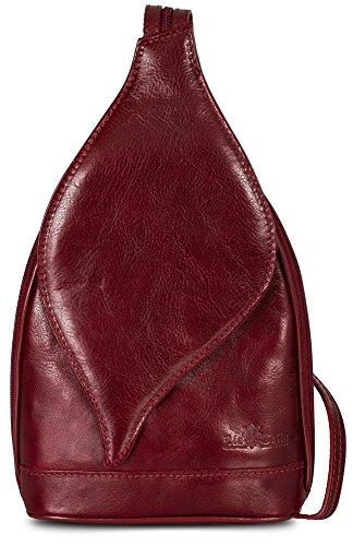 Rucksack Red Womens Backpack Shoulder LIATALIA Small Deep KIM Leather Italian Real Duffle Bag 0xawqA