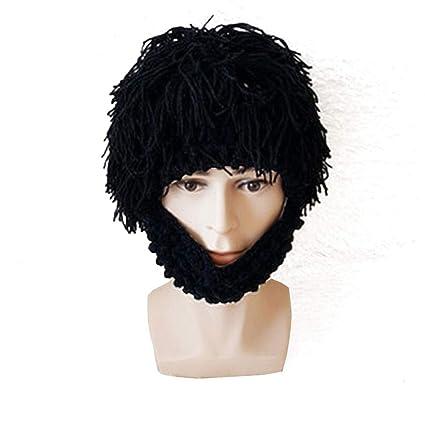 Merssavo Peluca Barba Creativa Sombrero de Lana Mano Tejer Divertido Sombrero a Prueba de Viento (