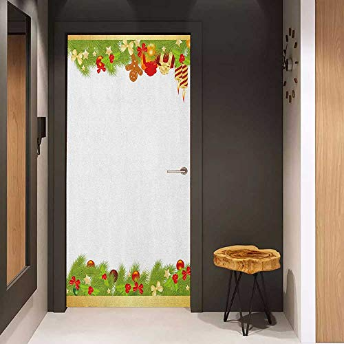 Door Sticker Christmas Evergreen Tree Leaves Spruce Gingerbread Man Candles Ribbons Joyous Composition Glass Film for Home Office W32 x H80 Multicolor