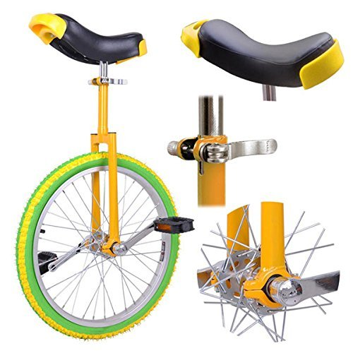 Triprel Inc 18'' Inch Wheel Performance Unicycle - Yellow Frame Green Wheel