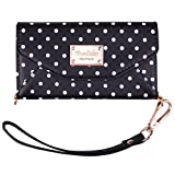 iPhone 6 Wallet Case, True Color© Premium Leatherette Polka Dots Wristlet Clutch Folio Tri-Fold Wallet Purse Case Cover - Black