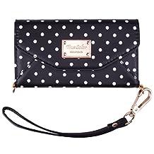 iPhone 6 Wallet Case, True Color© Premium Leatherette Polka Dots Wristlet Clutch Folio Tri-Fold Wallet Purse Case Cover - Black
