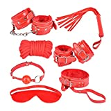 AKStore 7PCS Under the Bed Sex Bondage System Set Bed Restraints Kit Leather Ankle Cuffs Set For Male Female Couple(Red)