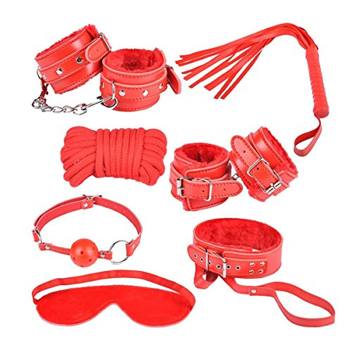 AKStore 7PCS Under the Bed Sex Bondage System Set Bed Restraints Kit Leather Ankle Cuffs Set For Male Female Couple(Red) by Akstore