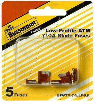 Bussmann BP//ATM-7-1//2LP-RP Brown ATM Low-Profile 7-1//2 Amp Fast-Acting Automotive Mini Blade Fuses 5 per Card