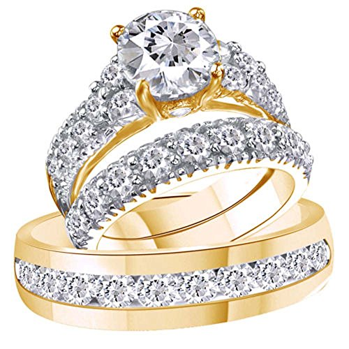 2heart 3.75 Ct Diamond 14k Yellow Gold Fn Trio Engagement Wedding Ring Set For His & Her 14k Yg Box