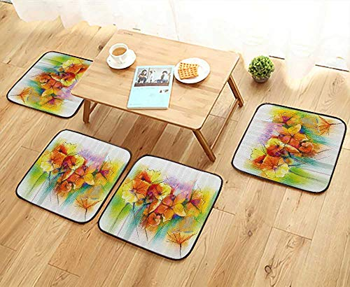 Printsonne Universal Chair Cushions withTypes of Blooms Daffodil Fragrant Multi Personalized Durable W15.5 x L15.5/4PCS Set